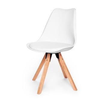 Scaun cu picioare din lemn de fag loomi.design Eco, alb de la loomi.design