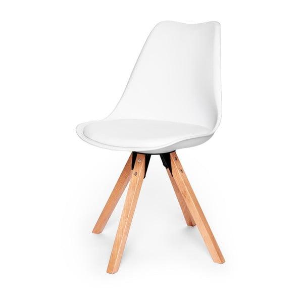 Sada 2 bielych stoličiek s podnožou z bukového dreva loomi.design Eco