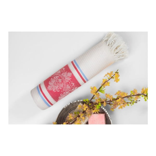Prosop hammam Deco Bianca Loincloth Hatice Pink, 80 x 170 cm, roșu - bej
