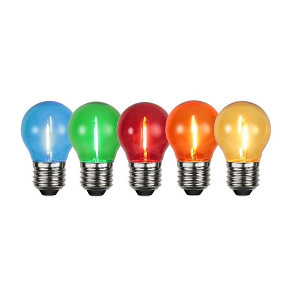 Sada 5 barevných LED žárovek Filament