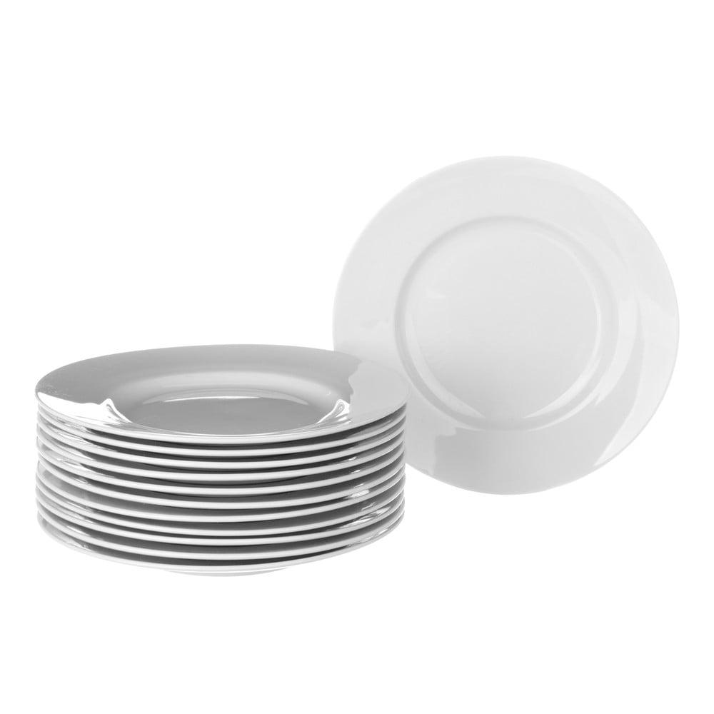 Sada 12 bílých porcelánových talířů Unimasa Elegant, průměr 26,7 cm