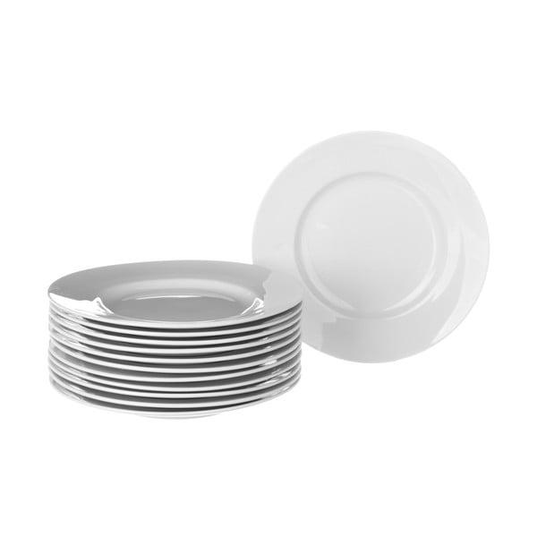 Sada 12 bílých porcelánových talířů Unimasa Elegant, průměr26,7cm