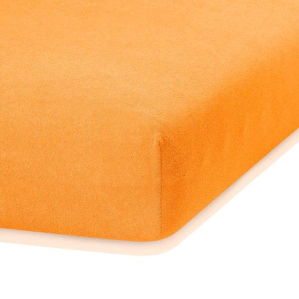 Oranžová elastická plachta s vysokým podielom bavlny AmeliaHome Ruby, 200 x 140-160 cm