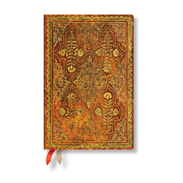 Agendă pentru anul 2020, cu copertă tare Paperblanks Persimmon, 160 file, portocaliu