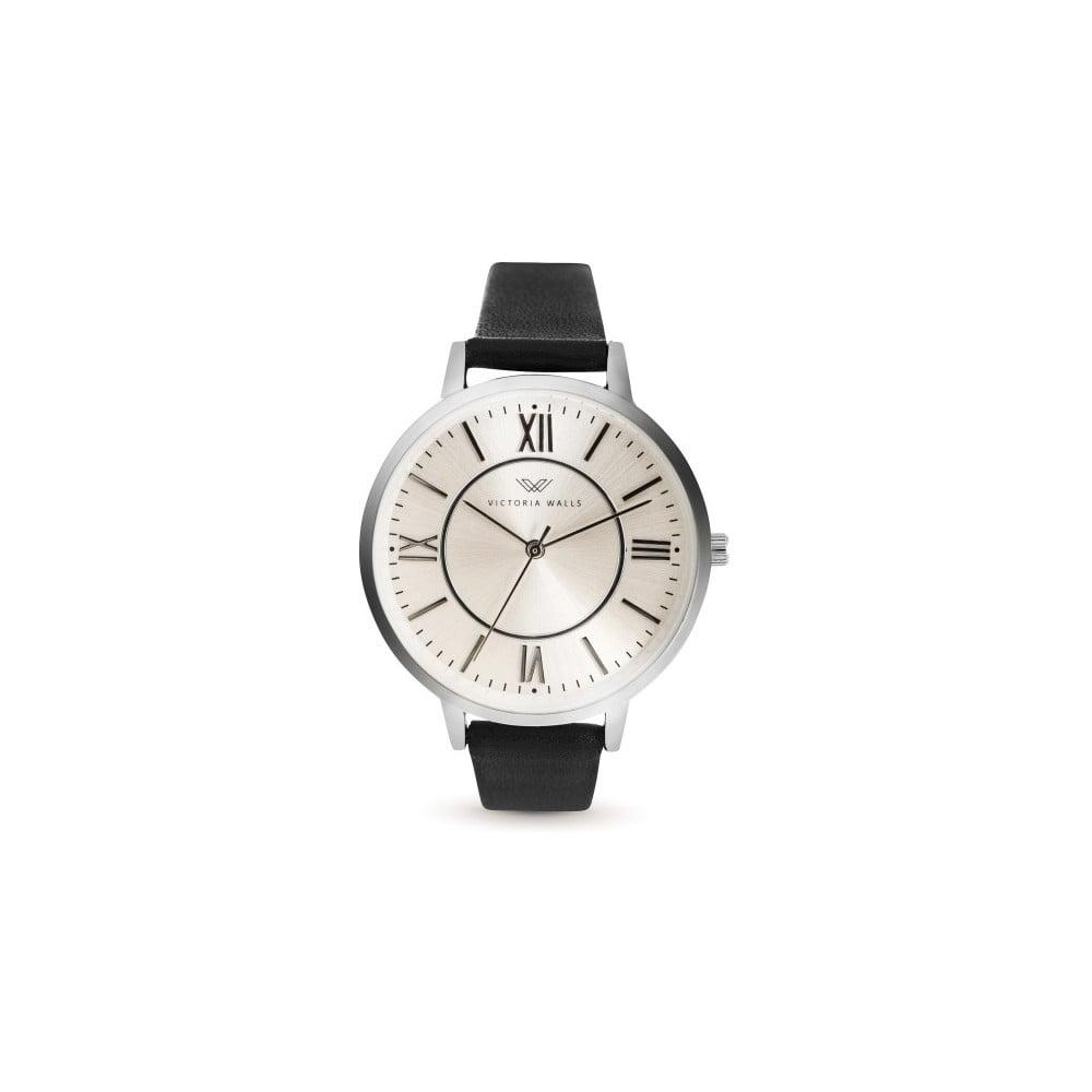 Dámské hodinky s černým koženým řemínkem Victoria Walls Classy