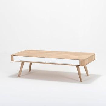 Masă de cafea cu sertar din lemn masiv de stejar Gazzda Ena