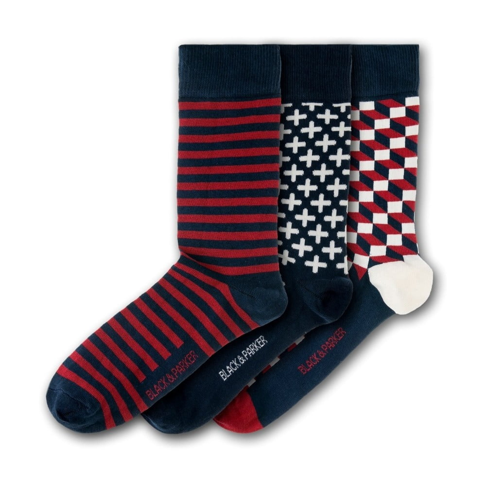 Sada 3 párů unisex ponožek Black&Parker London Trebah, velikost 37 - 43