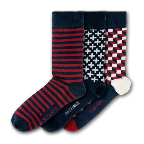 Sada 3 párov unisex ponožiek Black&Parker London Trebah, veľkosť 37 - 43