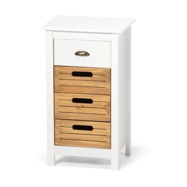 Dulap din lemn de pin și 4 sertare loomi.design Ibiza, alb