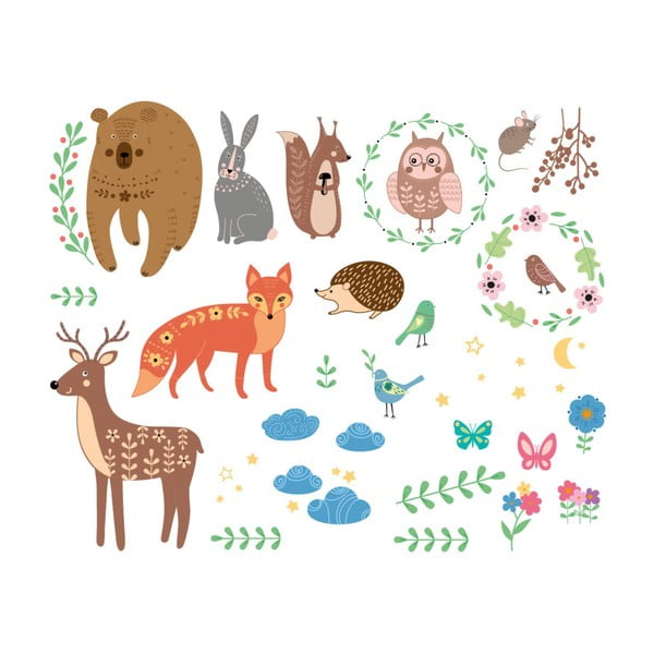 Sada nástěnných dětských samolepek Ambiance Scandinavian Animals of The Forest