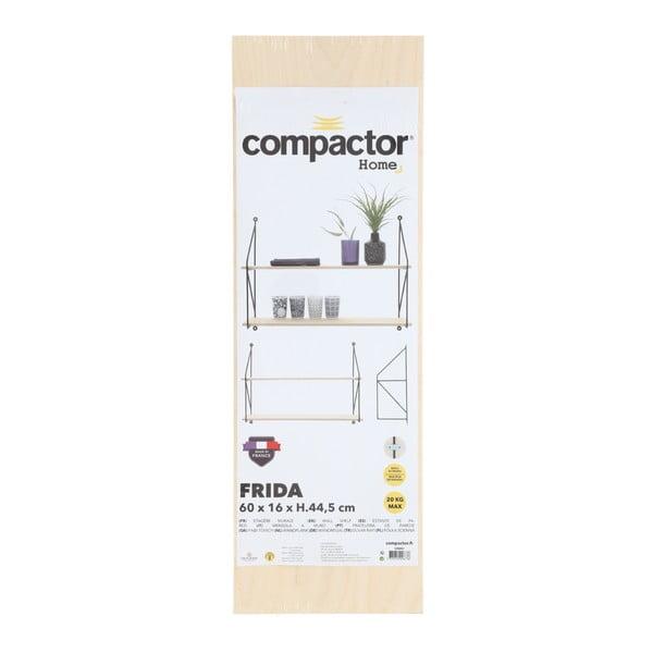 Nástěnná dvoupatrová police z překližky Compactor Frida, délka 60 cm