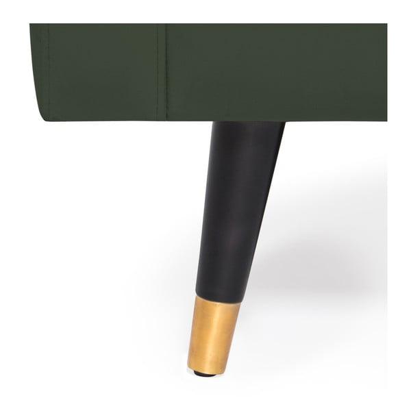 Tmavě zelená trojmístná pohovka s mosaznými nohami Vivonita Meyer Velvet