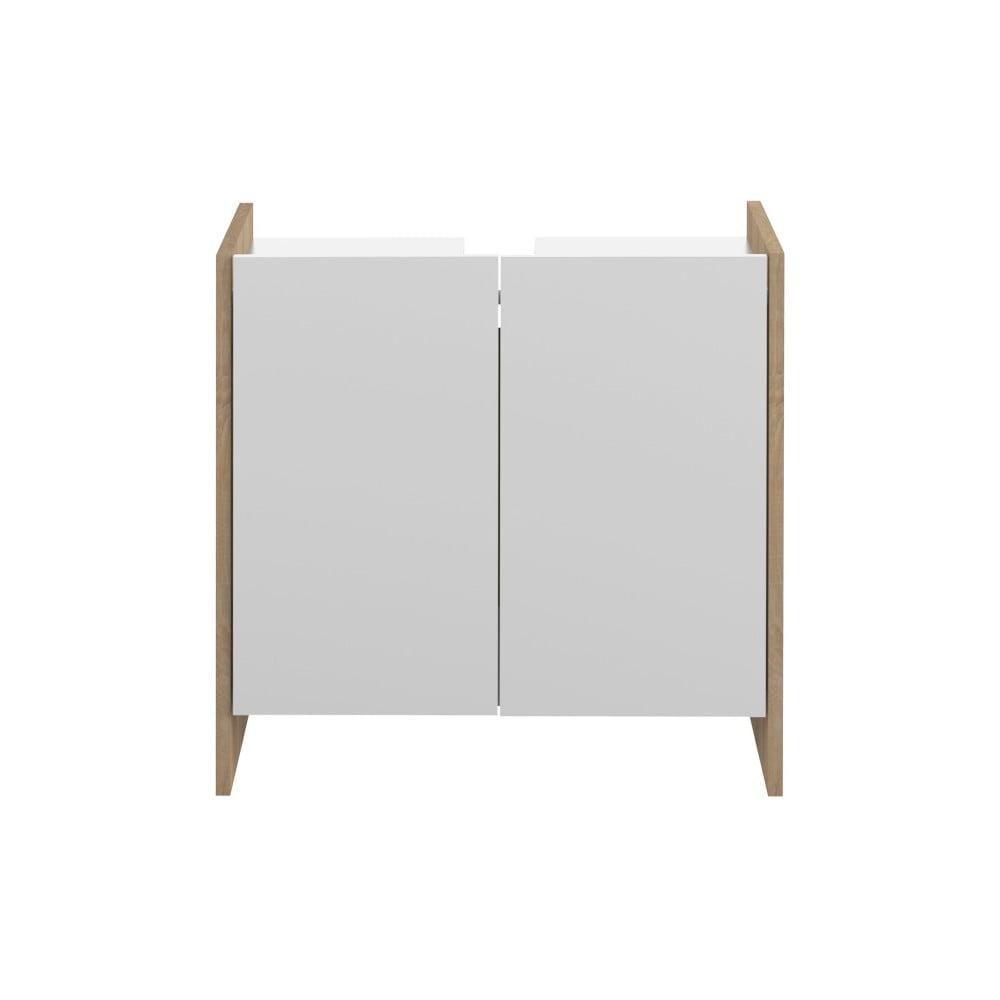 Bílá koupelnová skříňka s hnědým korpusem Symbiosis Auben,výška59,2cm
