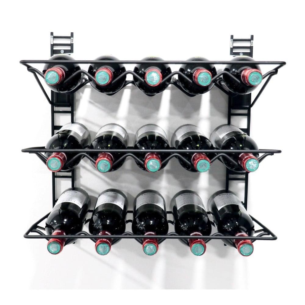 Černý nástěnný držák na 15 lahví vína Compactor Walltech