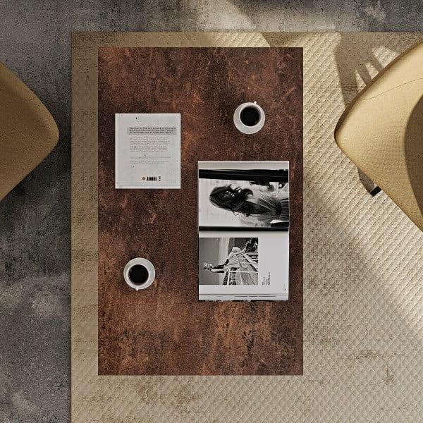 Hnědý konferenční stolek s černými nohami TemaHome Gleam, 120 cm