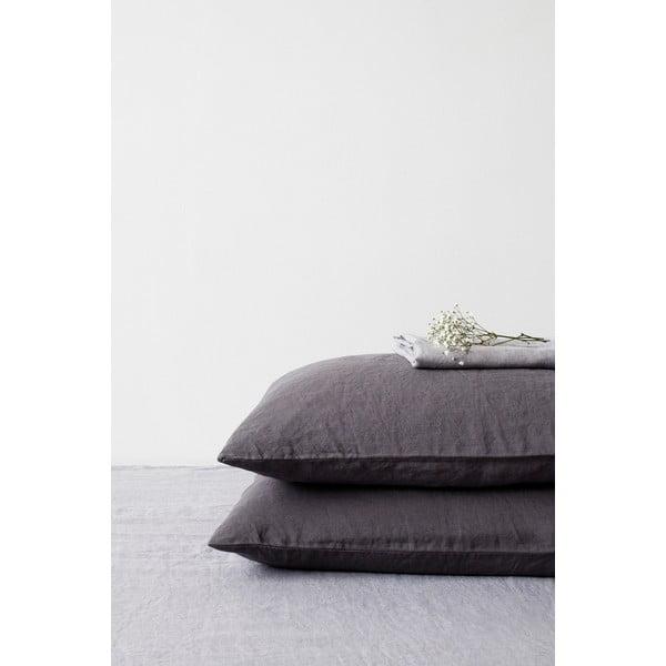 Tmavě šedý lněný povlak na polštář Linen Tales, 70 x 90 cm