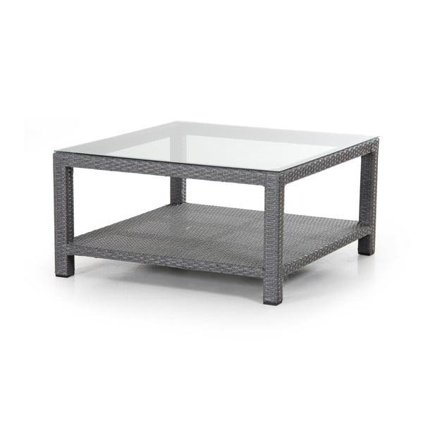 Šedý zahradní stolek se skleněnou deskou Brafab Ninja, 90x90cm