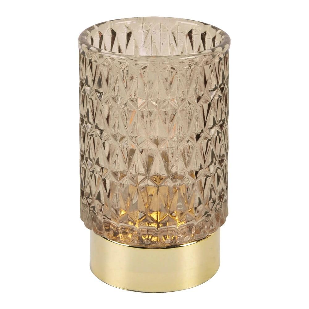 Hnědá LED skleněná stolní lampa PT LIVING Diamond