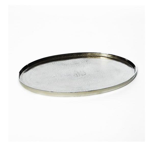 Platou oval Simla Raw, argintiu