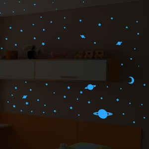 Autocolante fosforescente Ambiance Stars and Planets, 150 buc.