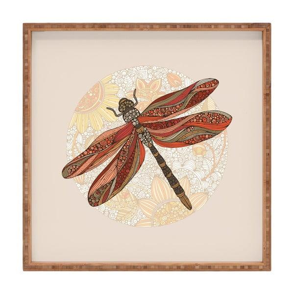 Tavă decorativă din lemn Dragonfly, 40x40cm