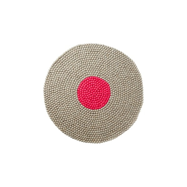 Vlněný koberec Wool Mat Round Pink, 90x90 cm