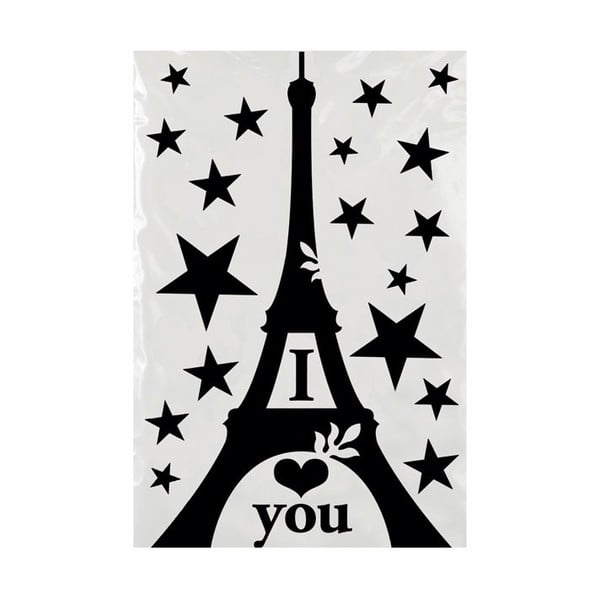 Samolepka na zeď Black Eiffel Tower Decal, 20x30 cm