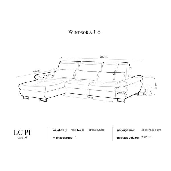 Béžová rozkládací rohová pohovka Windsor & Co Sofas Pi, levý roh