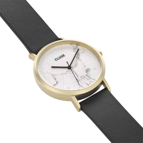 Dámské hodinky s černým koženým řemínkem a bílým mramorovým ciferníkem Cluse La Roche Star