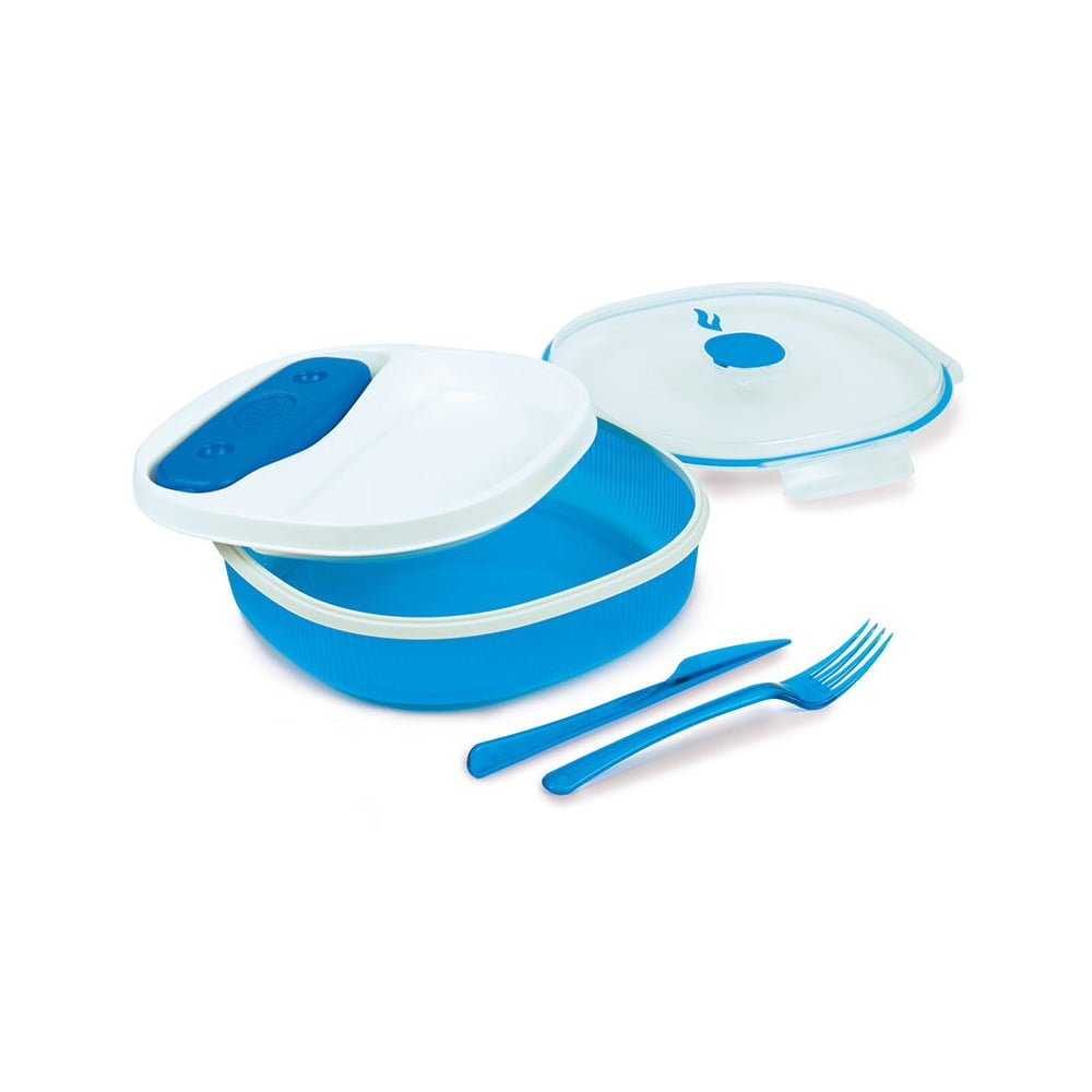 Modro-bílý obědový box s příborem a chladičem Snips Lunch