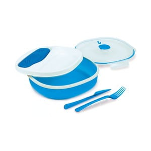 Cutie prânz cu tacâmuri Snips Lunch, albastru - alb