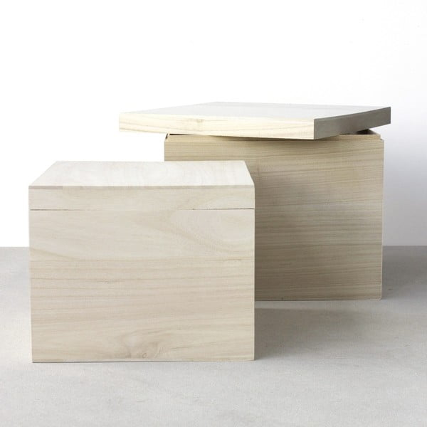 Sada 2 dřevěných boxů Boite de rangement