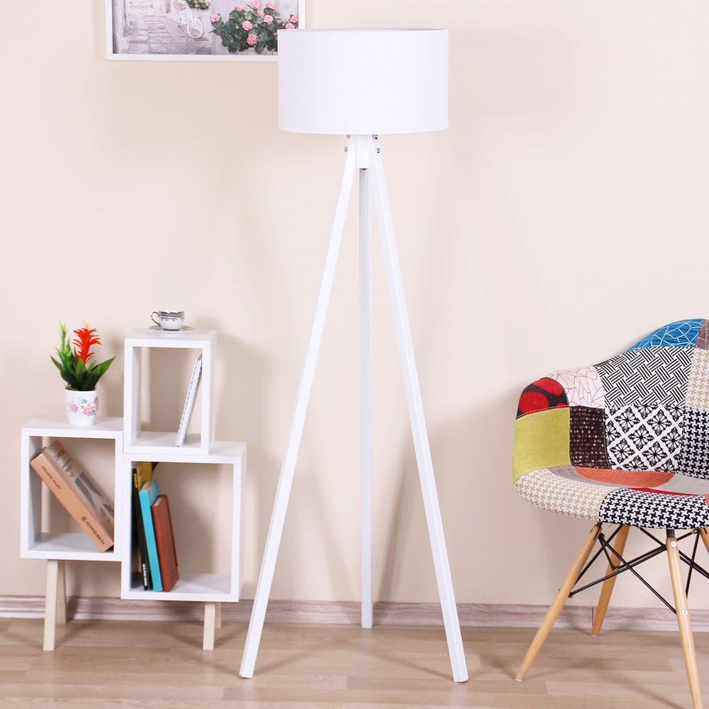 Bílá volně stojící lampa s bílým stínítkem Kate Louise Beyaz