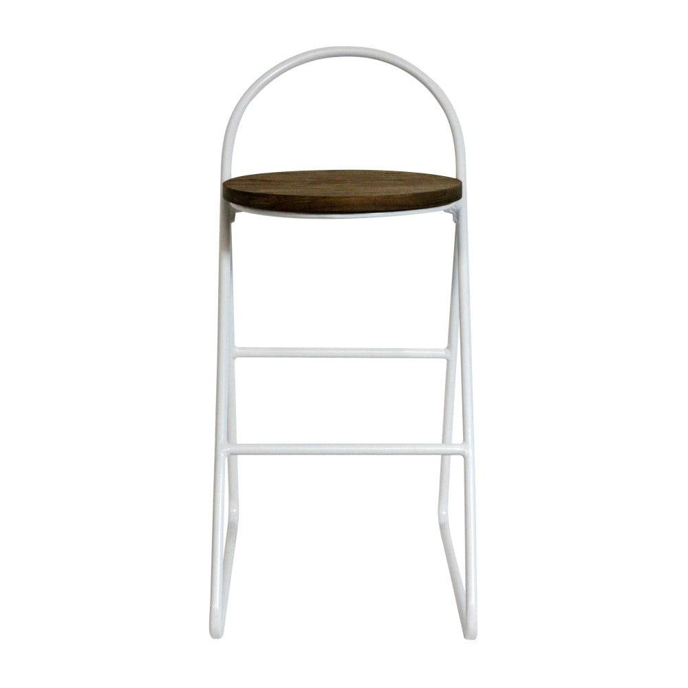 Barová stolička s jilmovým dřevem a bílou kovovou konstrukcí Red Cartel Duke, výška 78cm
