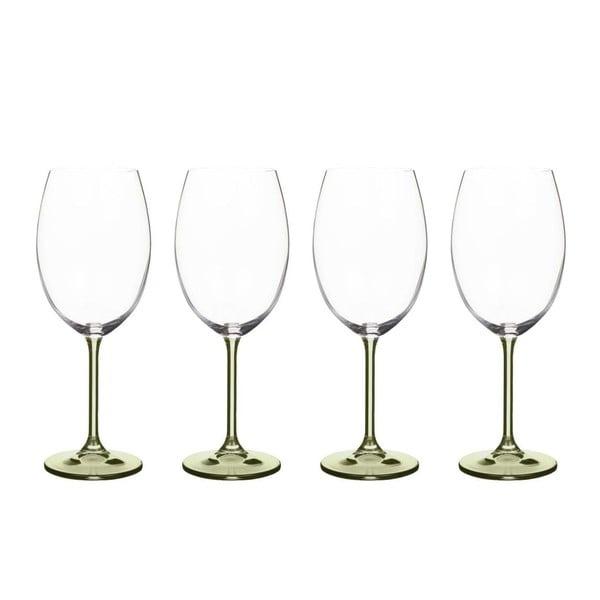 Sada 4 sklenic na víno ze zeleného křišťálového skla Bitz Fluidum, 450 ml