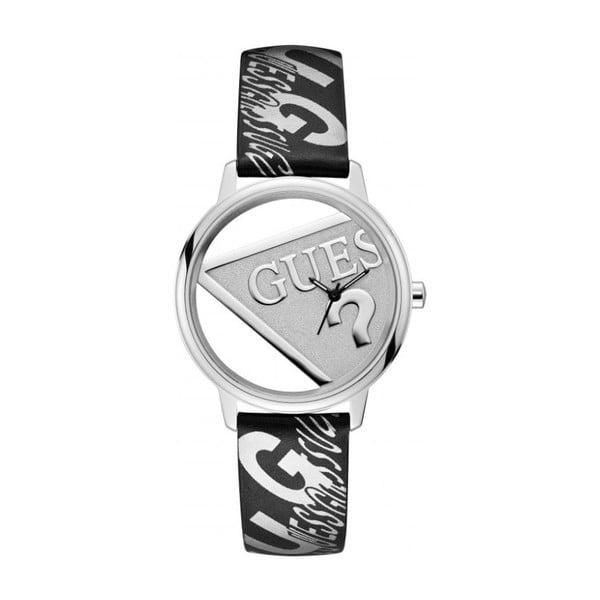 Dámske hodinky s čiernym remienkom z pravej kože Guess V1009M1