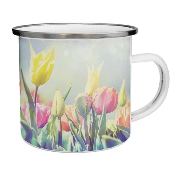Smaltovaný hrnek s tulipány TinMan, 200 ml