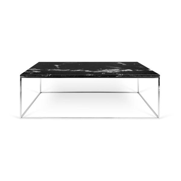 Černý mramorový konferenční stolek s chromovými nohami TemaHome Gleam, 75 x 120cm