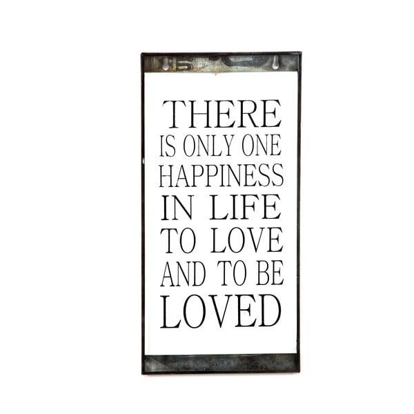 Skleněná tabulka s nápisem One Happiness, 20x40 cm