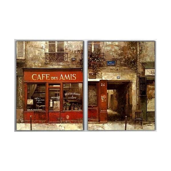 2dílný obraz Cafe des Amis, 40x60 cm