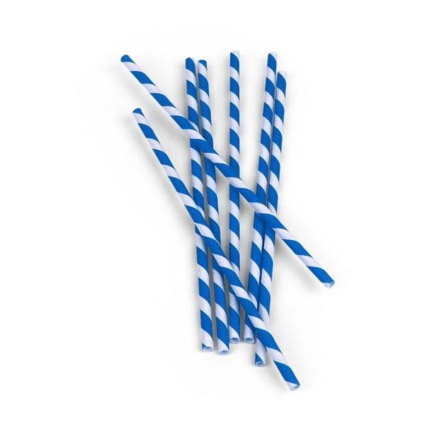 Sada 144 modrobílých papírových brček Kikkerland