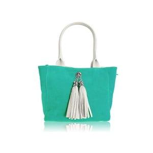Oboustranná kožená kabelka Dolce Sonia Bianco/Tiffany