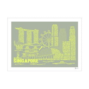 Plakát Singapore Grey&Yellow, 50x70 cm