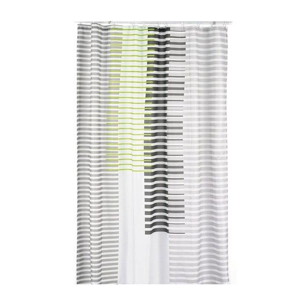 Sprchový závěs Lamara, šedý/zelený, 180x200 cm