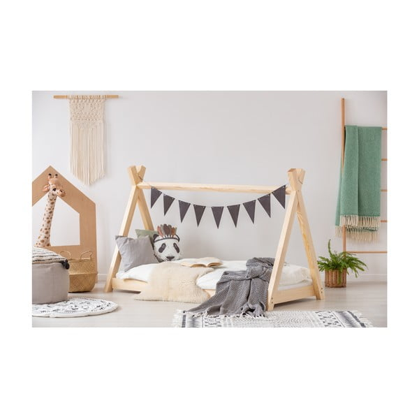 Cadru pat din lemn de pin, în formă de căsuță Adeko Mila TP, 90 x 160 cm