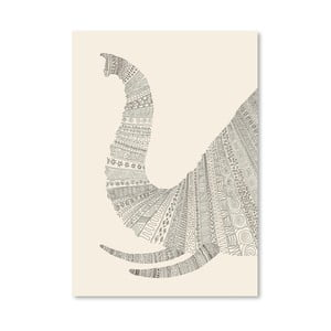 Plakát Elephant (On Beige) od Florenta Bodart, 30x42 cm