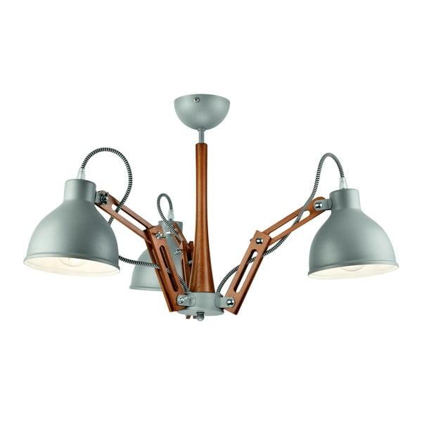 Szara lampa wisząca na 3 żarówki Lamkur Marcello