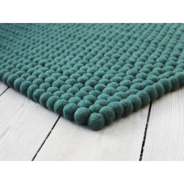 Covor cu bile din lână Wooldot Ball Rugs, 100 x 150 cm, verde