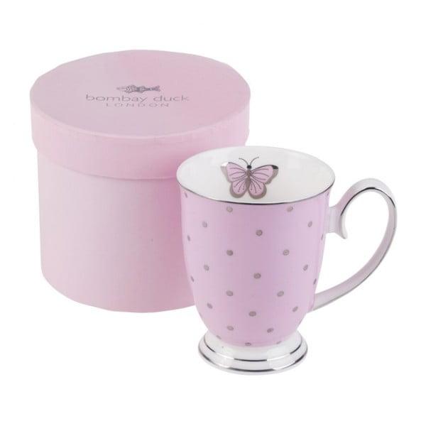 Růžový hrnek v  dárkové krabičce BombayDuck Miss Darcy