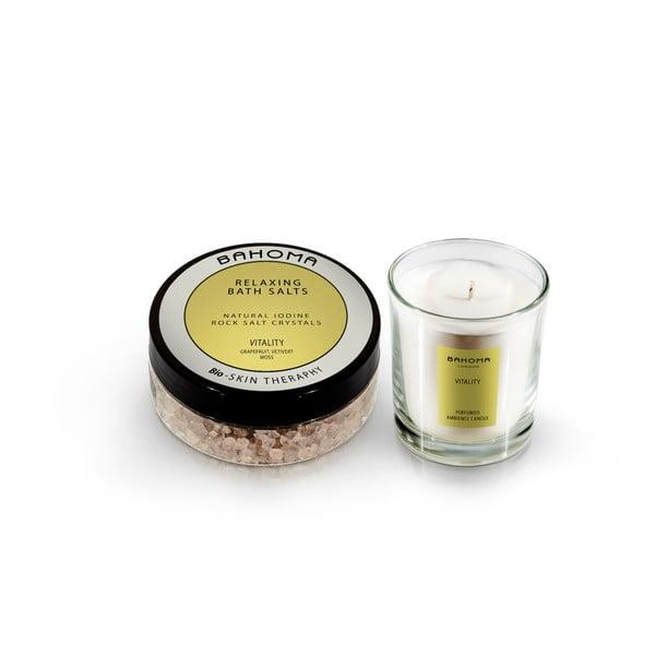 Set soli do kúpeľa a vonnej sviečky s vôňou citrusov a bazalky Bahoma London